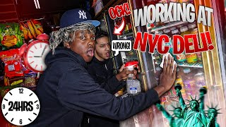 WORKING AT A NYC DELI FOR 24 HOURS!! w/ Arab Fly *CHOPPED CHEESE, BACONEGGANDCHEESE, HALAL, & MORE!*