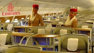 EMIRATES AIRBUS A380 Full Cabin Tour: FIRST, BUSINESS and ECONOMY Class + Bar, Shower!