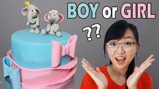 Gender Reveal Cakes | Baby Gender Reveal Cakes | Elephant Baby Shower Cake