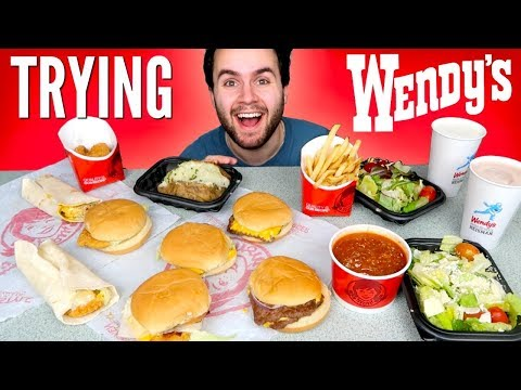 TRYING WENDY'S WHOLE DOLLAR MENU! –  Burgers, Fries, Chicken Nuggets & MORE Fast Food Taste Test!
