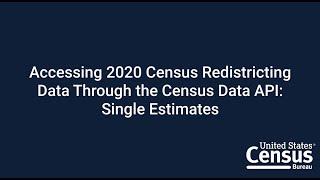 Accessing 2020 Census Redistricting Data Through the Census Data API: Single Estimates