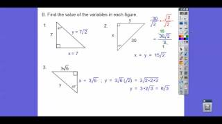 Review 2 - Special Right Triangles - Module 18 Test