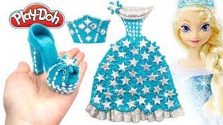 Play Doh Frozen Making Sparkle Shoes High Heels 👗 Dress Crown For Disney Princess Frozen Elsa 👸