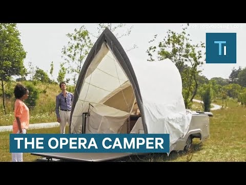 This transforming camper was modeled after the Sydney Opera House