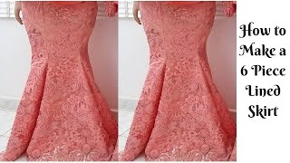 How to Cut 6 Piece Skirt and Sew Six Pieces Skirt with Lining. EASY, Simple & Detailed Mermaid Skirt