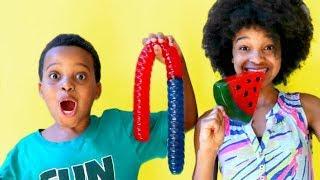 SQUISHIES VS REAL FOOD CHALLENGE! - Shiloh and Shasha - Onyx Kids