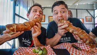 Mexican Street Food!!   Giant BACON WRAPPED BURRITO + Tostilocos!!