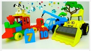 BOB The Builder - Counting TOY TRAINS Game With LEGO Construction Toy Trucks