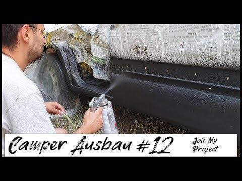 Steinschlagschutz am Schweller selber auftragen | Rostschutz für 10 Euro | Camper Umbau DIY #12