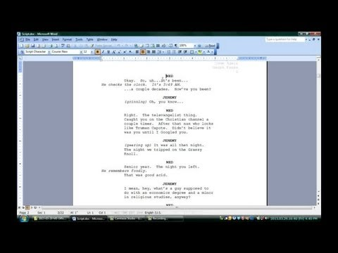 Part of a video titled How to Use Microsoft Word for Screenwriting : Microsoft Office ...
