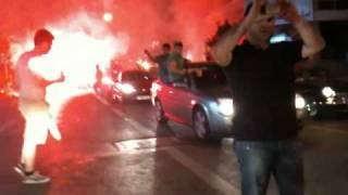 preview picture of video 'Omonia fans celebrating winning the championship on Nikis street in Nicosia - 2 May 2010 - 9:55pm'