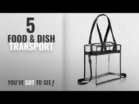 Top 10 Food & Dish Transport [2018]: Clear Cross-Body Messenger Shoulder Zippered Bag w Adjustable