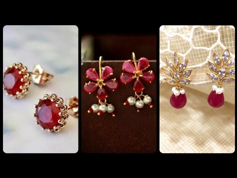 Ravishing And Stylish Ruby Stud Earrings Designs With Diamond In Gold/ Gold Ruby Earrings