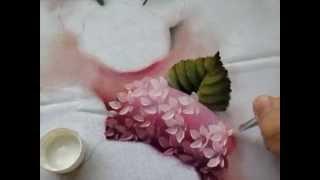 Pintura em tecido hortênsias