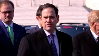 Sen Marco Rubio, Senators, survivors of school shootings news conference on gun bill  March 13,
