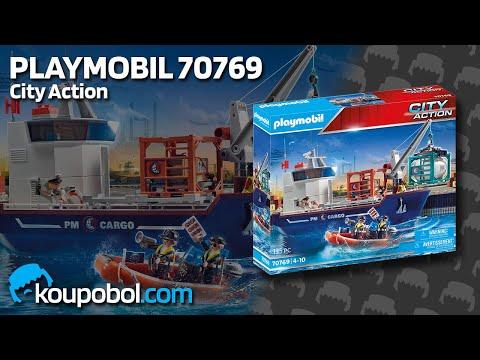 Vidéo PLAYMOBIL City Action 70769 : Grand cargo avec bateau de douaniers