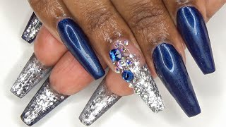 Acrylic Nails Tutorial - How To Full Set With Nail Forms - Navy Blue And Silver Glitter Bottom Nails