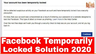 Your Account Is Temporarily Locked Facebook How To Unlock 2020 PC | Facebook Temporarily Blocked