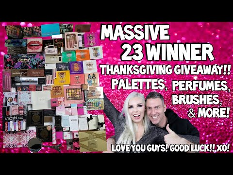 MASSIVE 23 Winner Thanksgiving Giveaway!! Palettes, Perfumes, Brushes, & More! | Tanya Feifel