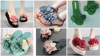 Very Stylish Flower Based Flat Sandals/Flip-flop Designs For Ladies
