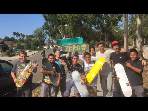 Chris Cole Gives Out Boards to Kids