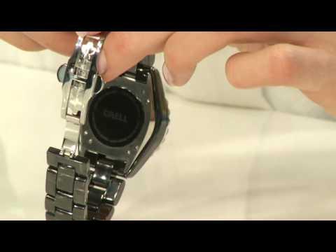 Crell Damenuhr mit hochwertigem Keramik-Armband, schwarz
