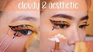 Butterfly Clouds Makeup Art! ☁️🍊 // Makeup Awan