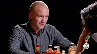 Guests Trying Not to Poop Compilation   Hot Ones