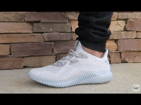 b6ad3caae adidas ALPHABounce White Onix AMS Sneaker Review On Feet
