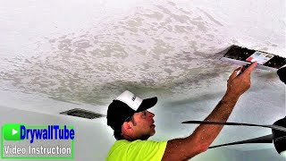 How to repair texture on a water damaged drywall ceiling step by step