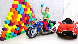 HUGE pyramid of COLORED CUBES and Super Test Drive on Toy Cars for kids
