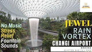 Waterfalls sound - Jewel Changi Airport Rain Vortex - 4K [10 Minutes Relaxing] - No Music