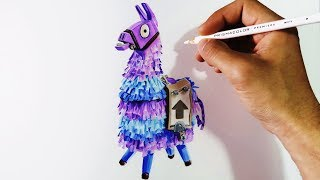 Cómo dibujar la Llama de Fortnite con lápices de colores | How to draw Loot Lama (English CC)