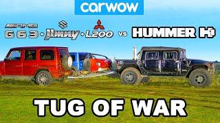 Hummer H1 vs G63 + Jimny + L200: TUG OF WAR!