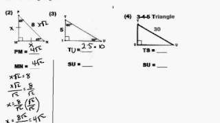 Finding The Side Lengthes Of Special Right Triangle
