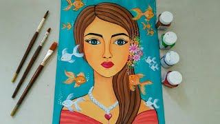 Beautiful Mermaid Painting || Ocean Goddess Acrylic Painting|| Gold Fish Painting