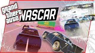 CRAZY Nascar Style Races Against A PRO Nascar Driver! - GTA Funny Moments