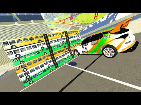 BUS WALL Destruction 2 - Beamng DRIVE - CrashTherapy