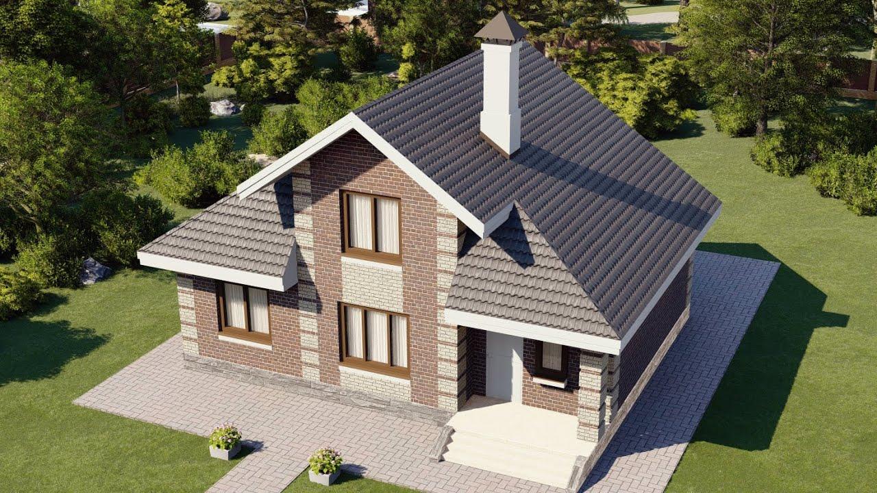 Проект мансардного дома с крыльцом и террасой