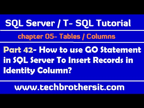 Use GO Statement in SQL Server To insert Records in Identity