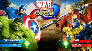 Marvel vs Capcom: Infinite - Hulk/Captain America vs Dante/Thanos Gameplay @ (60ᶠᵖˢ) HD ✔