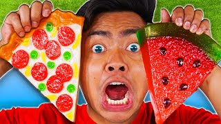 EATING ONLY GUMMY FOOD FOR 24 HOURS! Vs Real Food - Challenge
