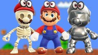 All Costumes in Super Mario Odyssey Unlocked / Golden Mario, Metal Mario, Dry Mario + More Caps
