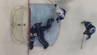 Hutchinson makes lucky save despite puck going wide