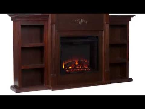Video for Tennyson Espresso Electric Fireplace with Bookcases