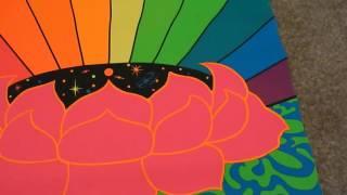 1967 PSYCHEDELIC Original Hippie 60s LSD Black Light Art Poster Rainbow Flower Stars