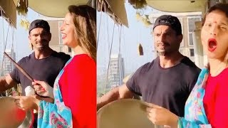 Pregnant Bipasha Basu Playing Plate With Husband Karan Singh Grover At Home