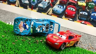 Cars 1 Final Race Scene Remake! The King Crash! Stop Motion Animation Kids toy videos