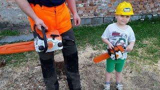 Chainsaw Stihl MS180 VS Toys Chainsaw Stihl For Kids!!!