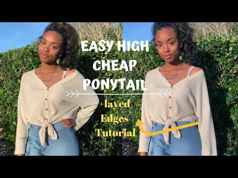 Easy Weave Ponytail for only $10  |Protective styles| |natural hair|